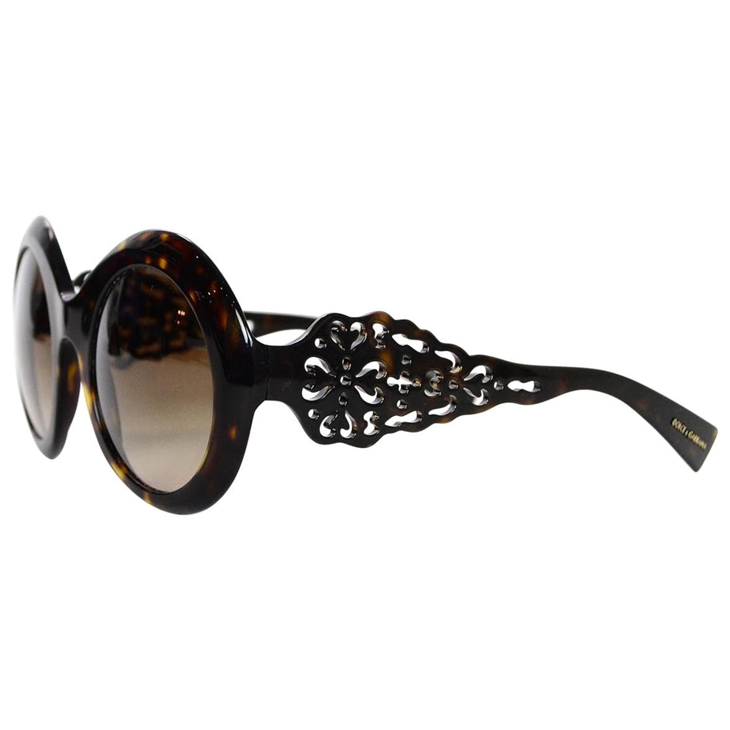 a11b29770831 Dolce and Gabbana Round Brown Tortoise Sunglasses W  Filigree Design For  Sale at 1stdibs