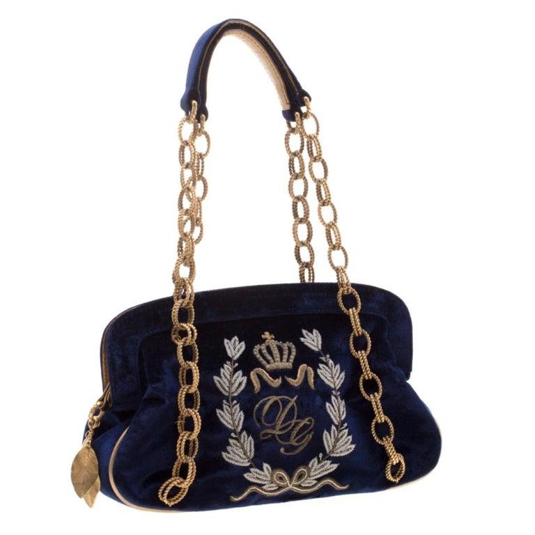 Women's Dolce & Gabbana Royal Blue Embroidered Velvet Frame Shoulder Bag For Sale
