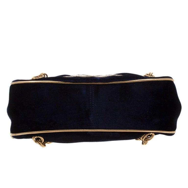 Dolce & Gabbana Royal Blue Embroidered Velvet Frame Shoulder Bag For Sale 1