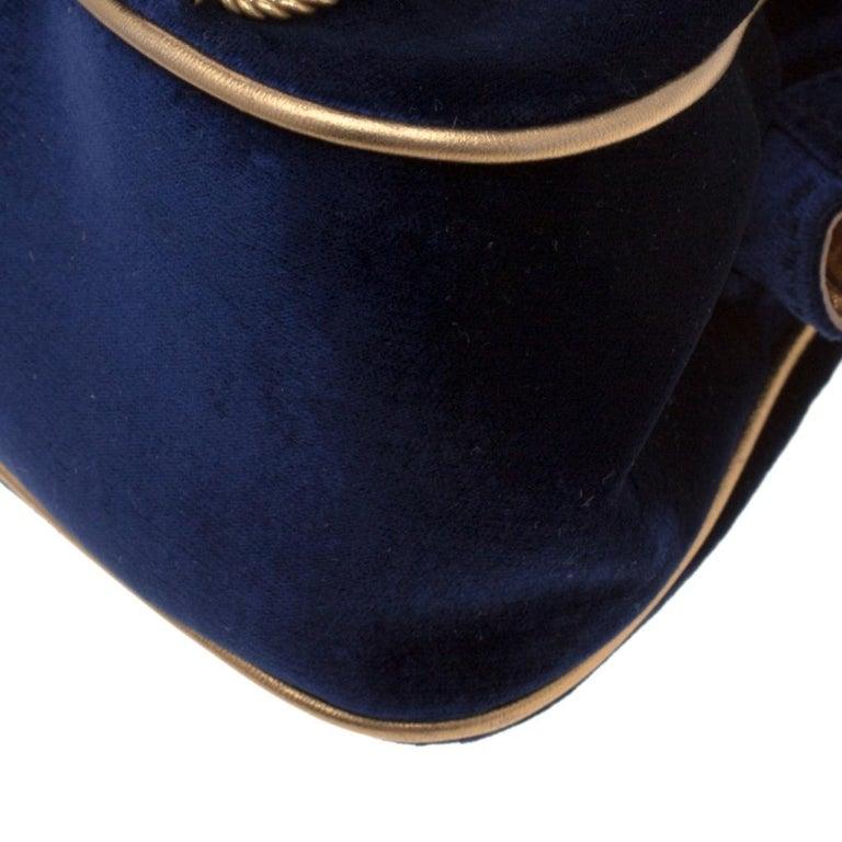 Dolce & Gabbana Royal Blue Embroidered Velvet Frame Shoulder Bag For Sale 4
