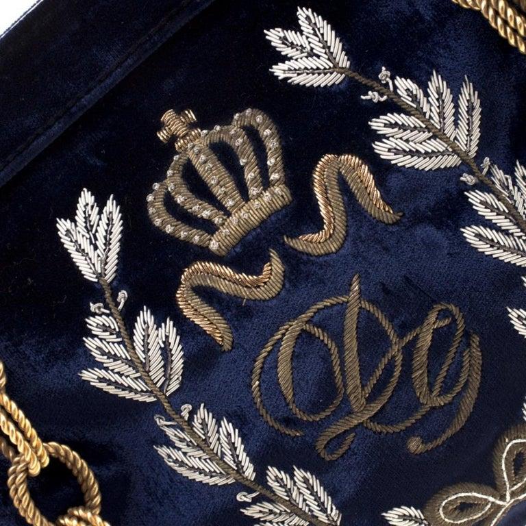 Dolce & Gabbana Royal Blue Embroidered Velvet Frame Shoulder Bag For Sale 5