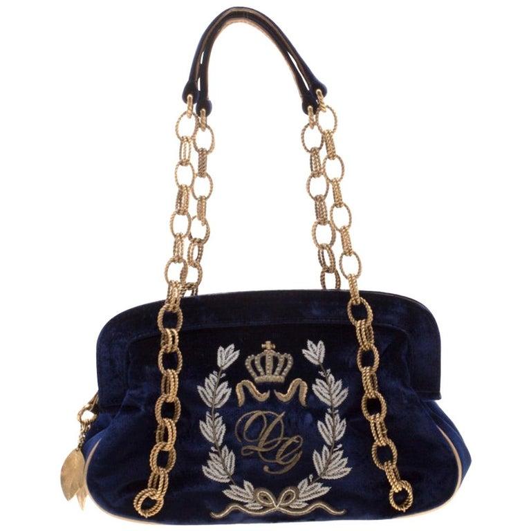 Dolce & Gabbana Royal Blue Embroidered Velvet Frame Shoulder Bag For Sale