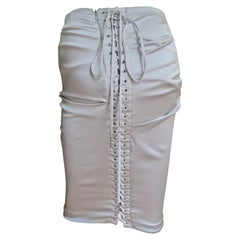 Dolce & Gabbana Ruched Lace-up Back Silk Skirt