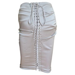 Dolce & Gabbana Ruched Lace up Silk Skirt