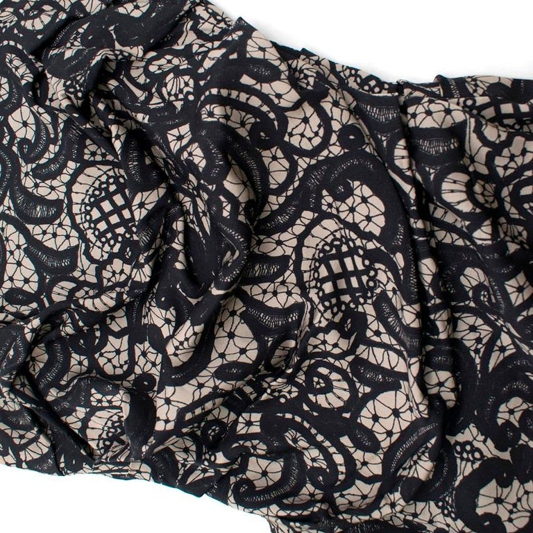 Dolce & Gabbana Ruched Silk Lace Effect Dress IT 38 For Sale 1