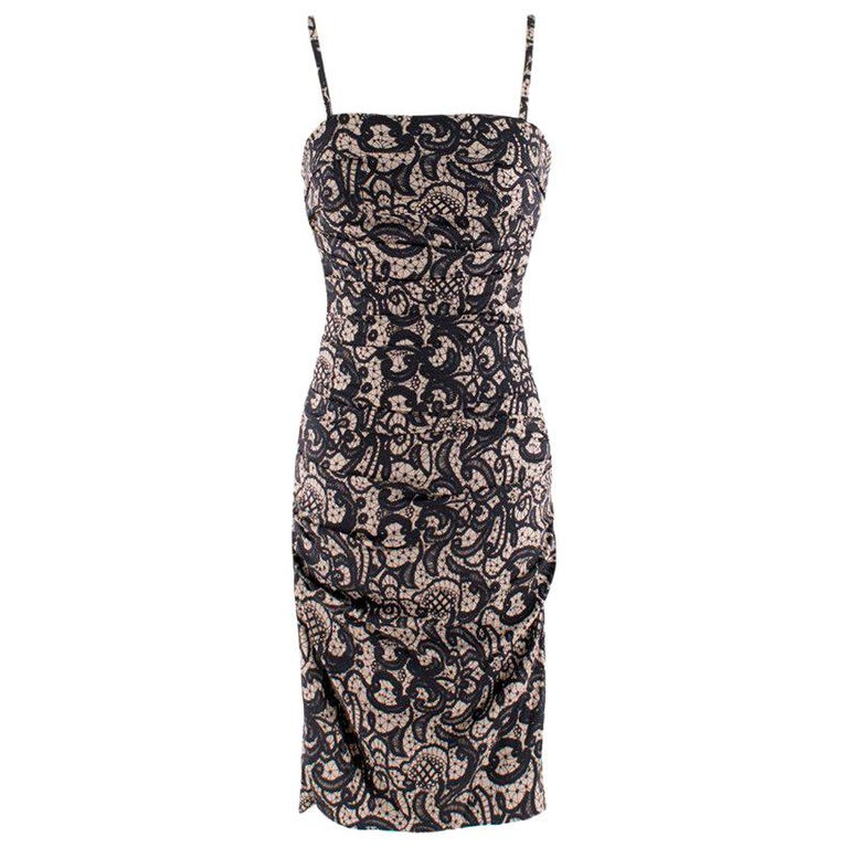 Dolce & Gabbana Ruched Silk Lace Effect Dress IT 38 For Sale