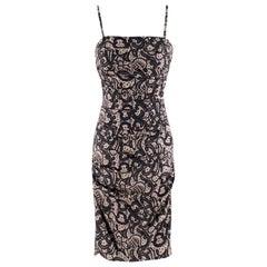 Dolce & Gabbana Ruched Silk Lace Effect Dress - Size US 2