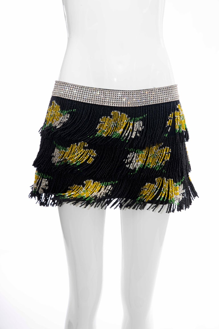 Dolce & Gabbana Runway Black Silk Beaded Fringe Diamanté Mini-Skirt, Spring 2000 For Sale 6