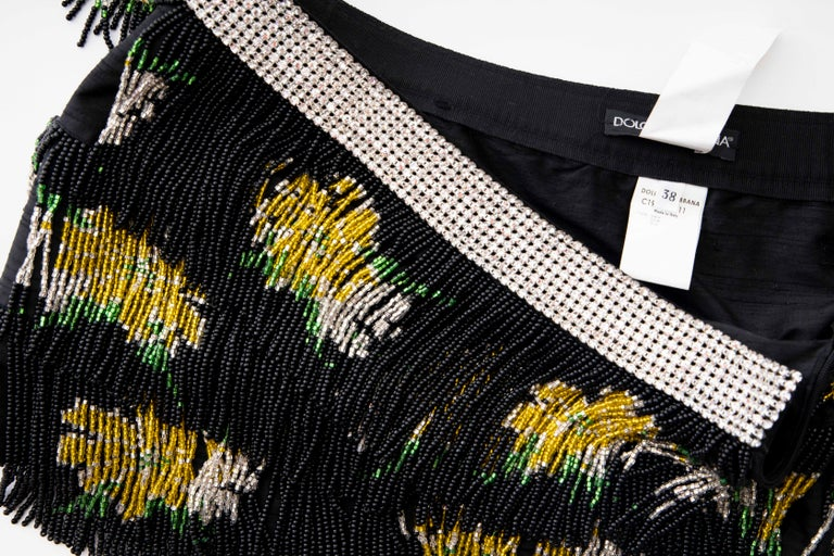 Dolce & Gabbana Runway Black Silk Beaded Fringe Diamanté Mini-Skirt, Spring 2000 For Sale 8