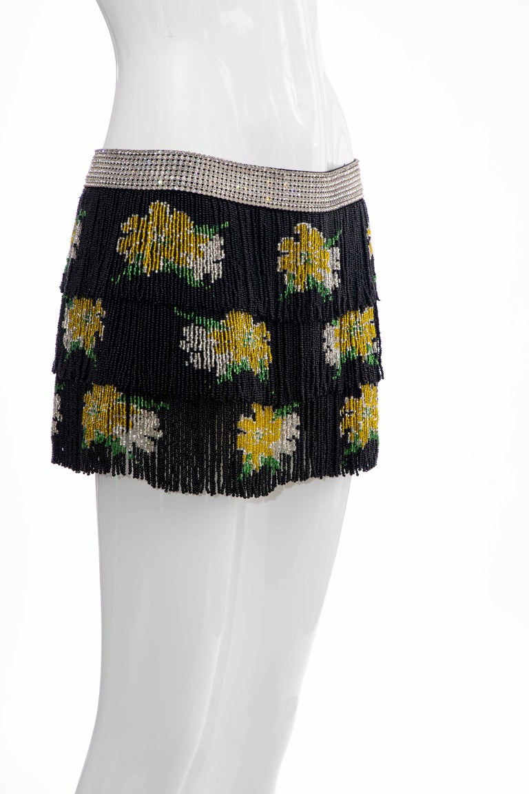 Women's Dolce & Gabbana Runway Black Silk Beaded Fringe Diamanté Mini-Skirt, Spring 2000 For Sale