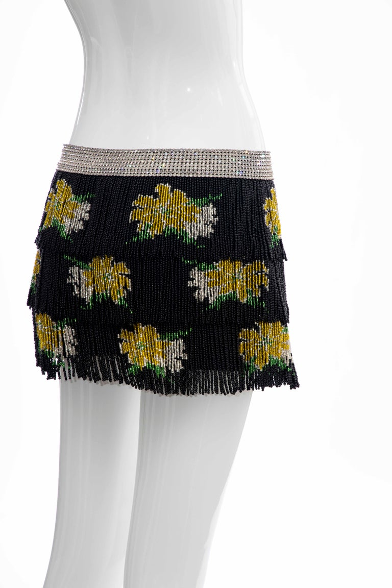 Dolce & Gabbana Runway Black Silk Beaded Fringe Diamanté Mini-Skirt, Spring 2000 For Sale 2
