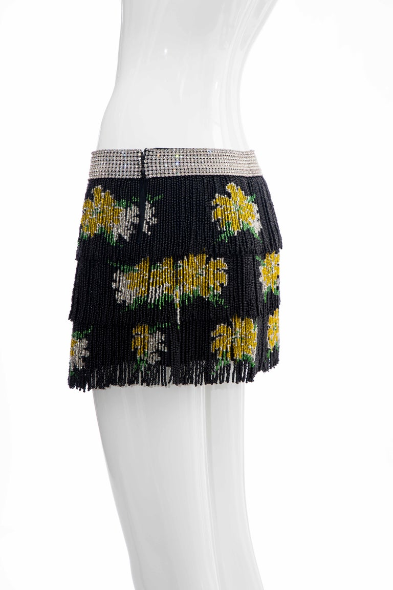 Dolce & Gabbana Runway Black Silk Beaded Fringe Diamanté Mini-Skirt, Spring 2000 For Sale 4