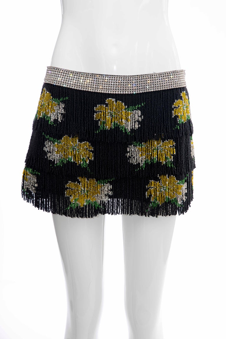 Dolce & Gabbana Runway Black Silk Beaded Fringe Diamanté Mini-Skirt, Spring 2000 For Sale 5
