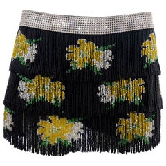 Dolce & Gabbana Runway Black Silk Beaded Fringe Diamanté Mini-Skirt, Spring 2000