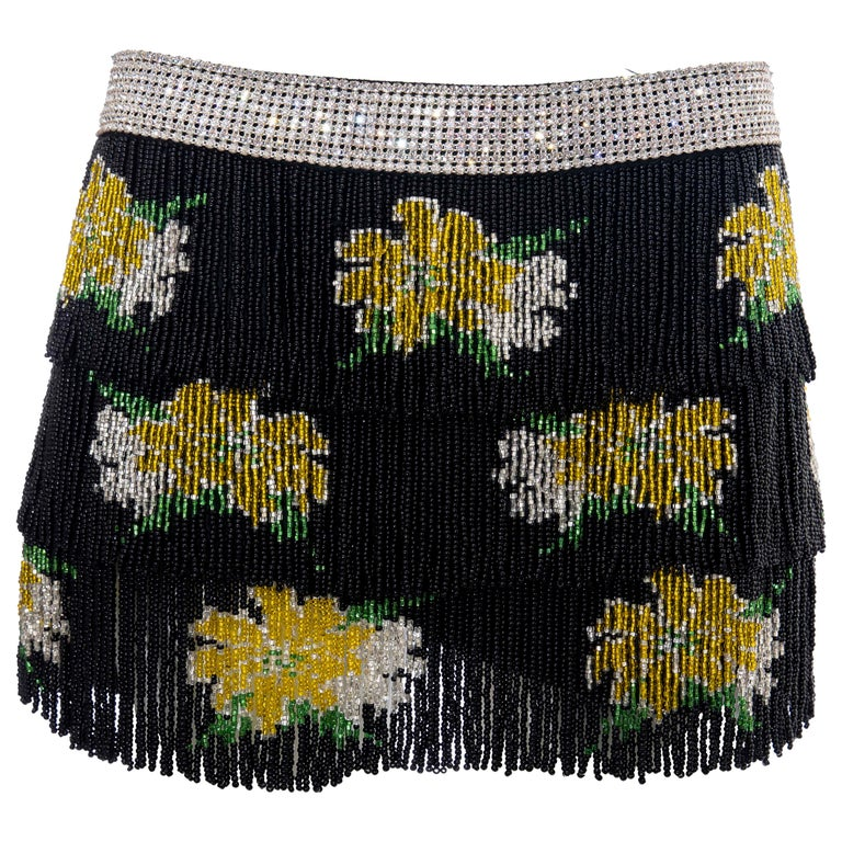 Dolce & Gabbana Runway Black Silk Beaded Fringe Diamanté Mini-Skirt, Spring 2000 For Sale