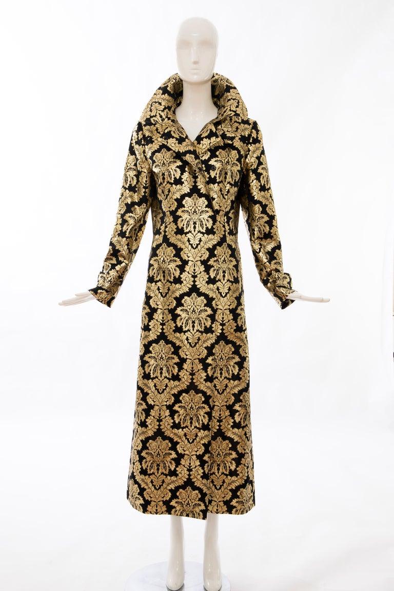 Dolce & Gabbana Runway Black Silk Gold Floral Brocade Evening Jacket, Fall 2000 10