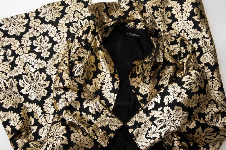 Dolce & Gabbana Runway Black Silk Gold Floral Brocade Evening Jacket, Fall 2000 14