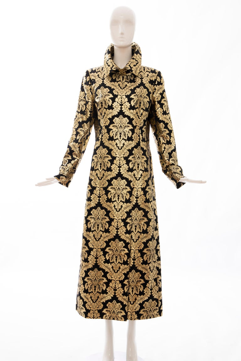 Dolce & Gabbana Runway Fall 2000, black silk gold floral metallic long brocade evening jacket,  double front concealed snap fastener closures, back vent and fully lined.  IT.44, US. 8  Bust: 38, Waist: 35, Hip: 42, Shoulder: 15.5, Sleeve: 25.5,