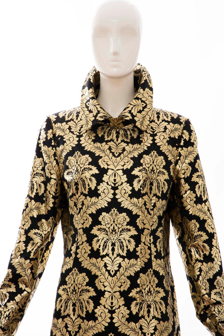 Brown Dolce & Gabbana Runway Black Silk Gold Floral Brocade Evening Jacket, Fall 2000