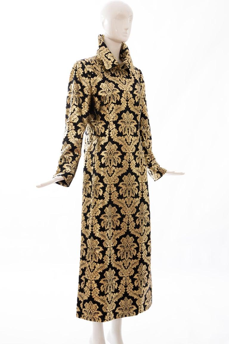 Dolce & Gabbana Runway Black Silk Gold Floral Brocade Evening Jacket, Fall 2000 In Excellent Condition In Cincinnati, OH