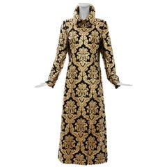Dolce & Gabbana Runway Black Silk Gold Floral Brocade Evening Jacket, Fall 2000