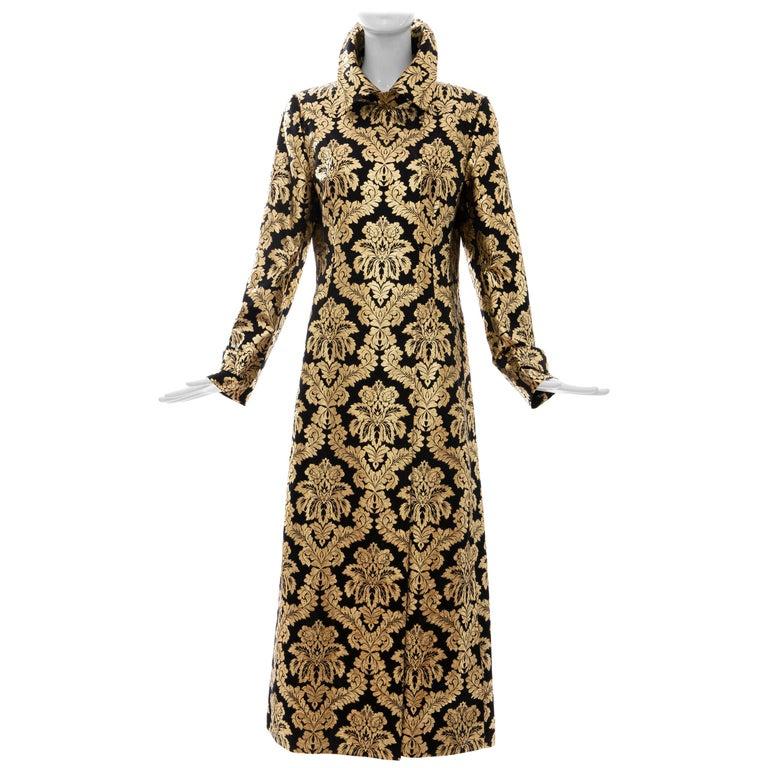 Dolce & Gabbana Runway Black Silk Gold Floral Brocade Evening Jacket, Fall 2000