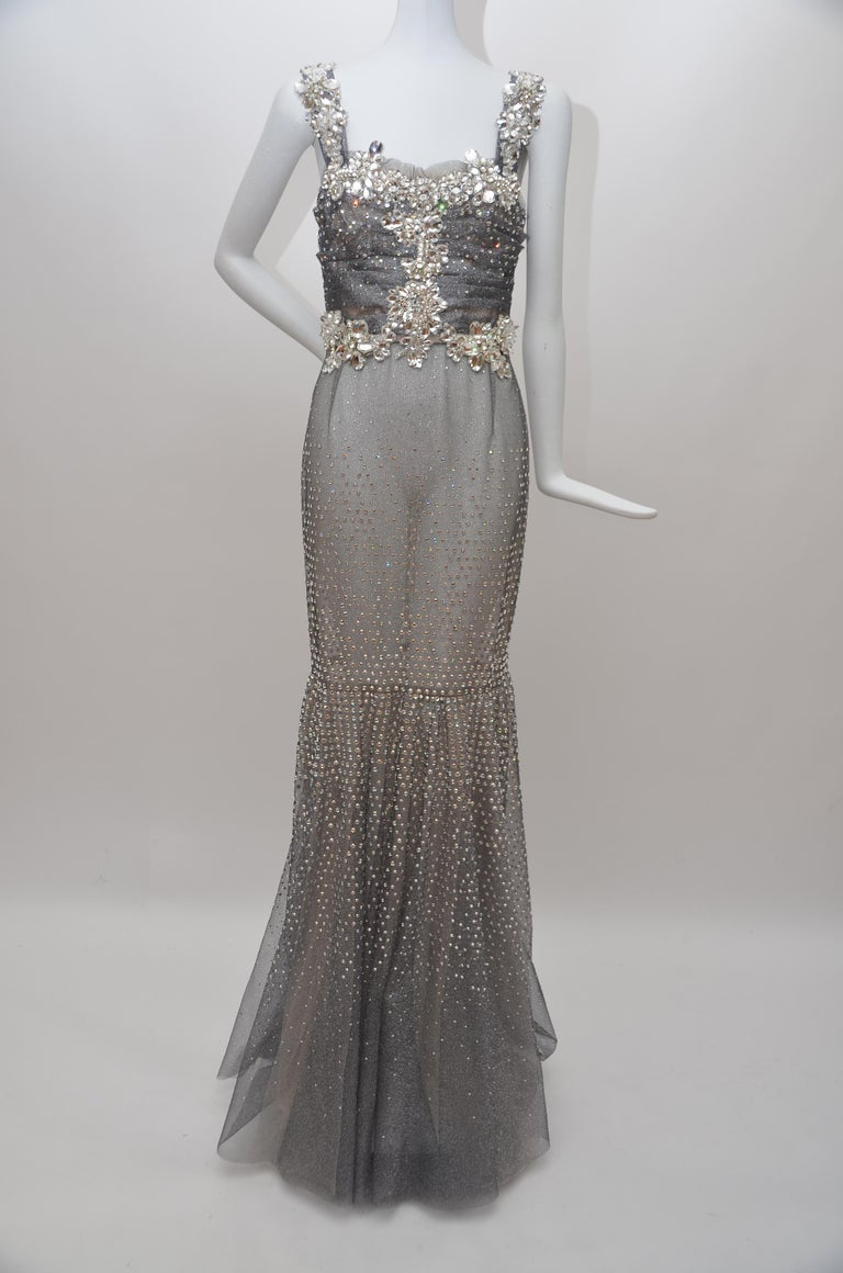 Dolce & Gabbana Runway Crystals Embellished Mermaid Dress  SZ38 Retailed $32,000 In Excellent Condition For Sale In Hollywood, FL