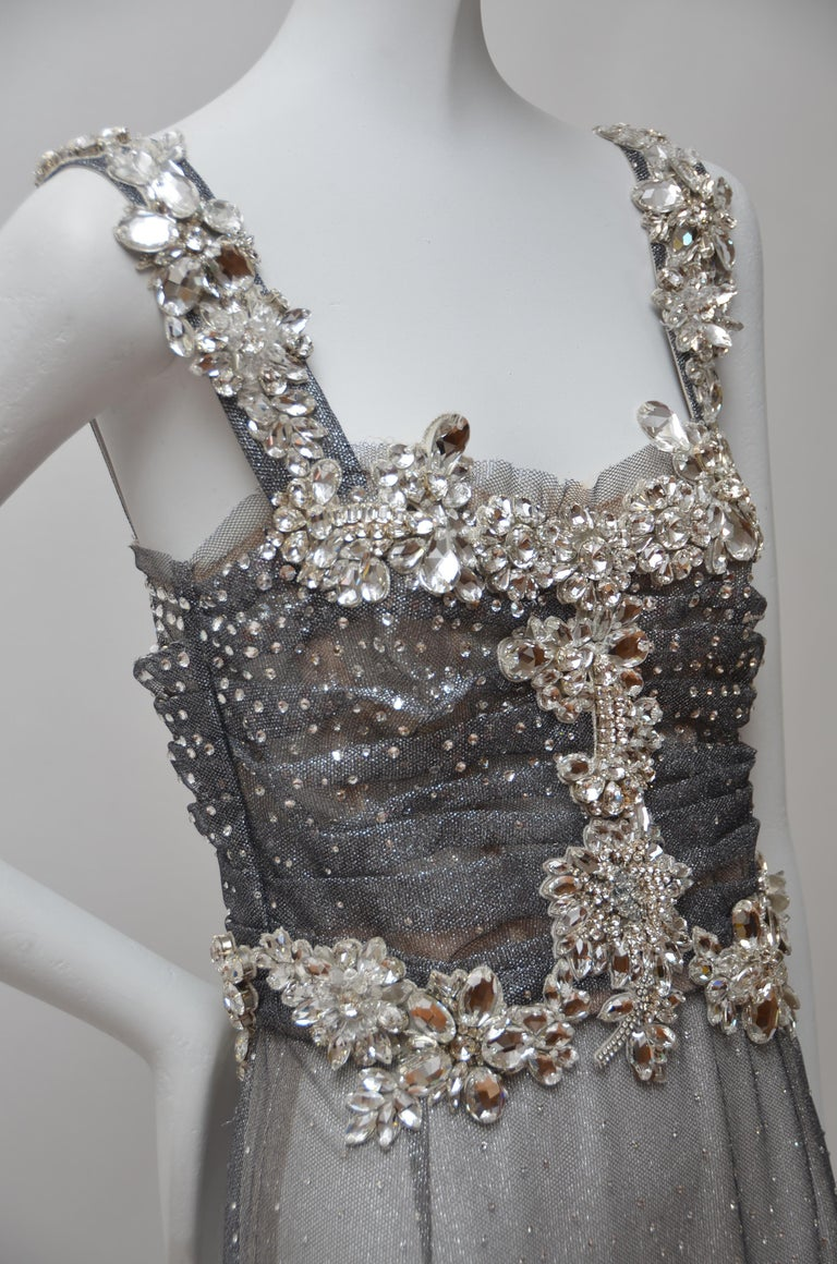 Dolce & Gabbana Runway Crystals Embellished Mermaid Dress  SZ38 Retailed $32,000 For Sale 2