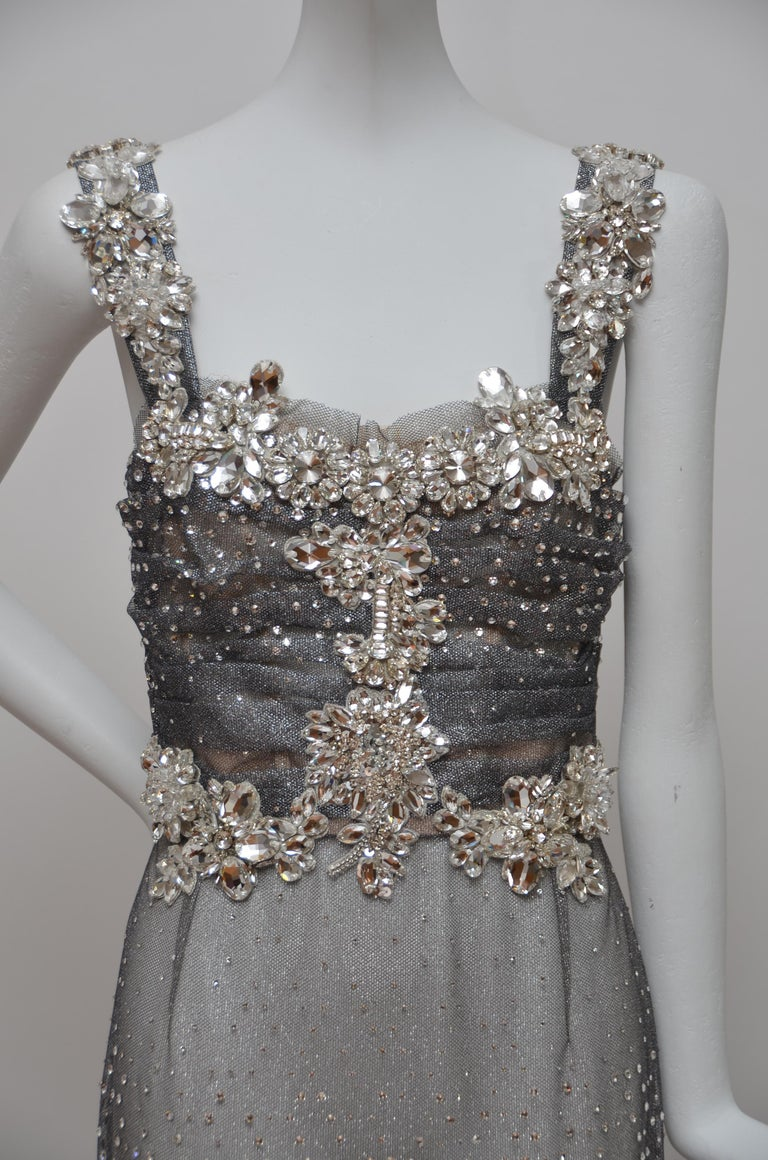 Dolce & Gabbana Runway Crystals Embellished Mermaid Dress  SZ38 Retailed $32,000 For Sale 5