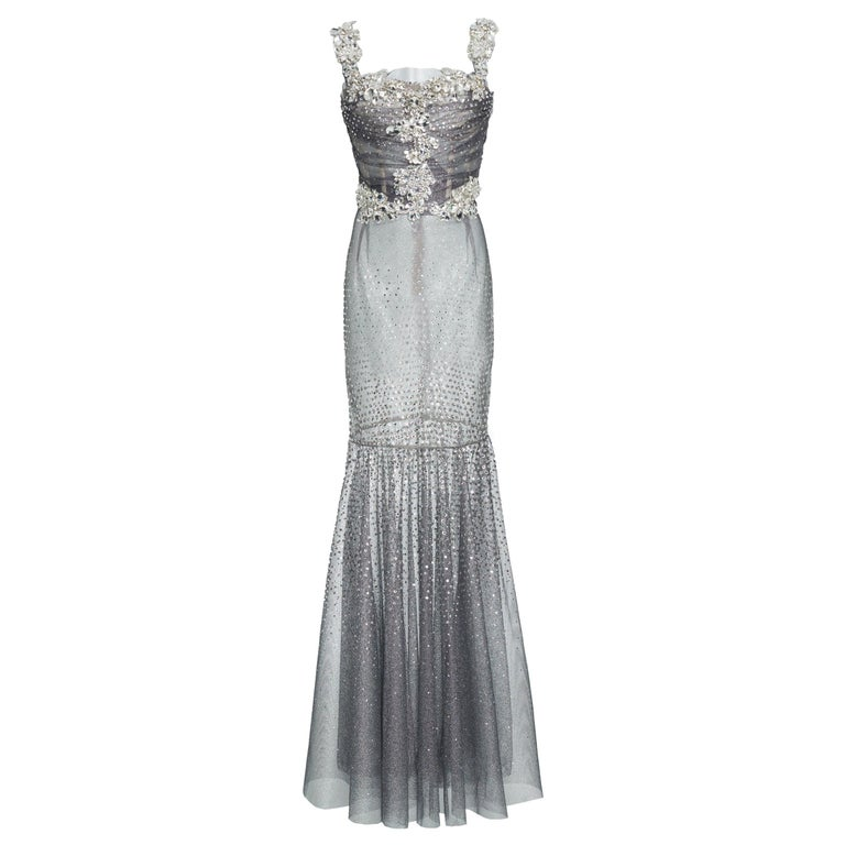 Dolce & Gabbana Runway Crystals Embellished Mermaid Dress  SZ38 Retailed $32,000 For Sale