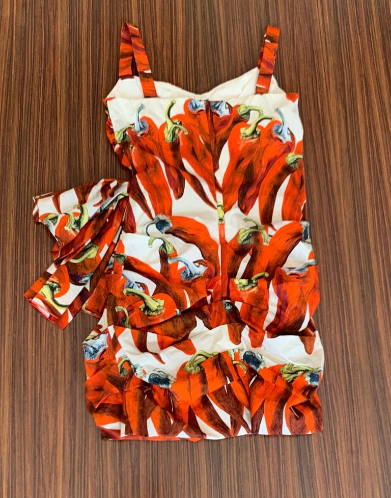 Dolce & Gabbana Runway Red Chili Pepper Print Ruched Mini Dress with Bow Accent In Excellent Condition For Sale In San Francisco, CA