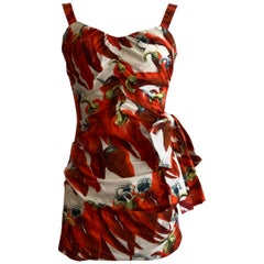 Dolce & Gabbana Runway Red Chili Pepper Print Ruched Mini Dress with Bow Accent
