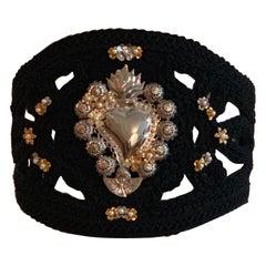 Dolce & Gabbana Runway Sacred Heart Embellished Black Suede Passamenterie Belt