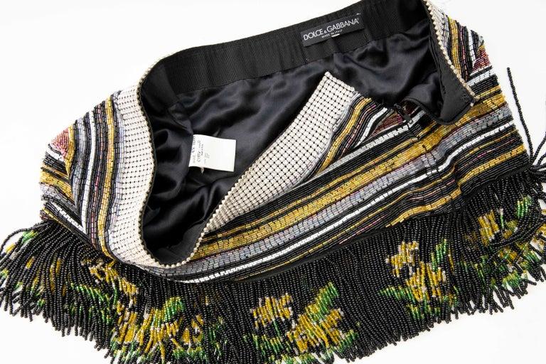 Dolce & Gabbana Runway Silk Beaded Diamante Mini Skirt, Spring 2000 5