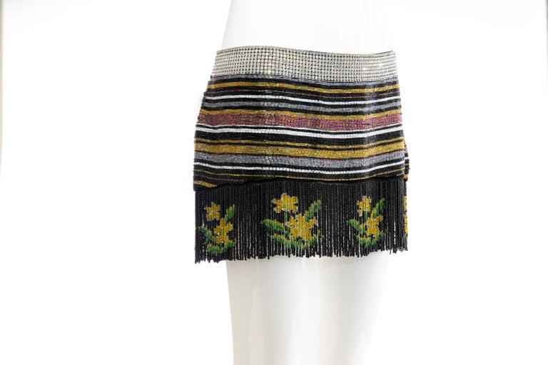 Dolce & Gabbana Runway Silk Beaded Diamante Mini Skirt, Spring 2000 In Excellent Condition In Cincinnati, OH