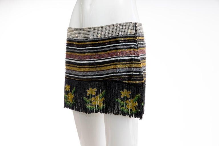 Women's Dolce & Gabbana Runway Silk Beaded Diamante Mini Skirt, Spring 2000