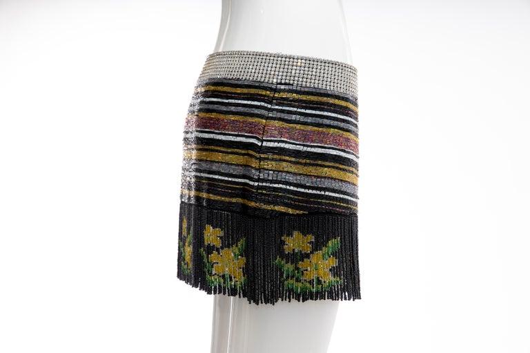 Dolce & Gabbana Runway Silk Beaded Diamante Mini Skirt, Spring 2000 1