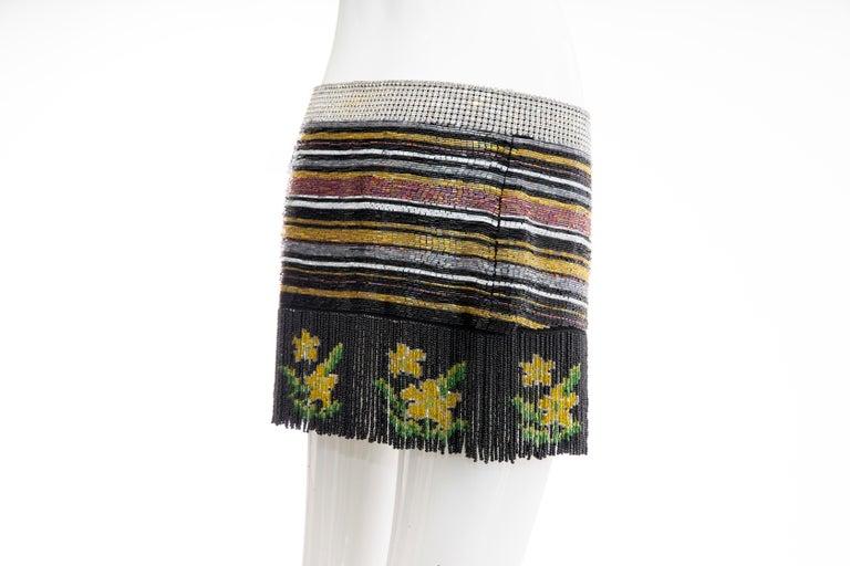 Dolce & Gabbana Runway Silk Beaded Diamante Mini Skirt, Spring 2000 2