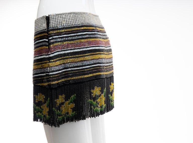 Dolce & Gabbana Runway Silk Beaded Diamante Mini Skirt, Spring 2000 4