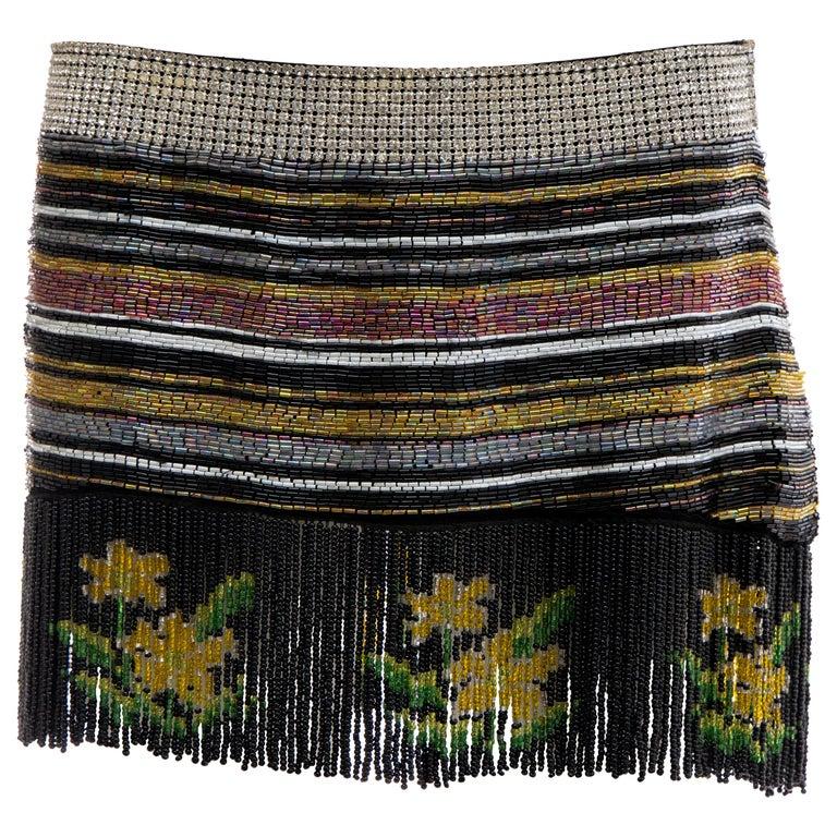 Dolce & Gabbana Runway Silk Beaded Diamante Mini Skirt, Spring 2000
