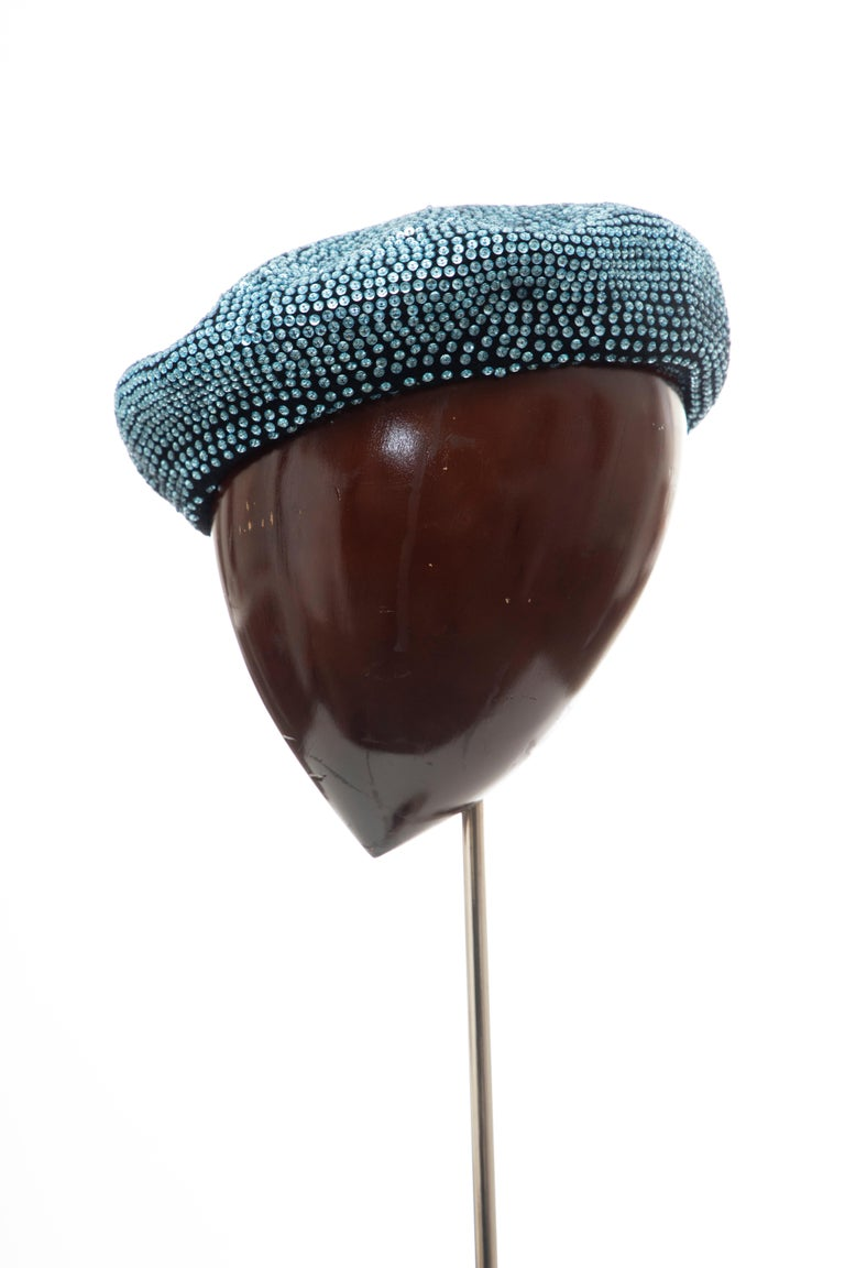 Dolce & Gabbana Runway Black Wool & Turquoise Crystal Beret, Fall 2000 For Sale 7