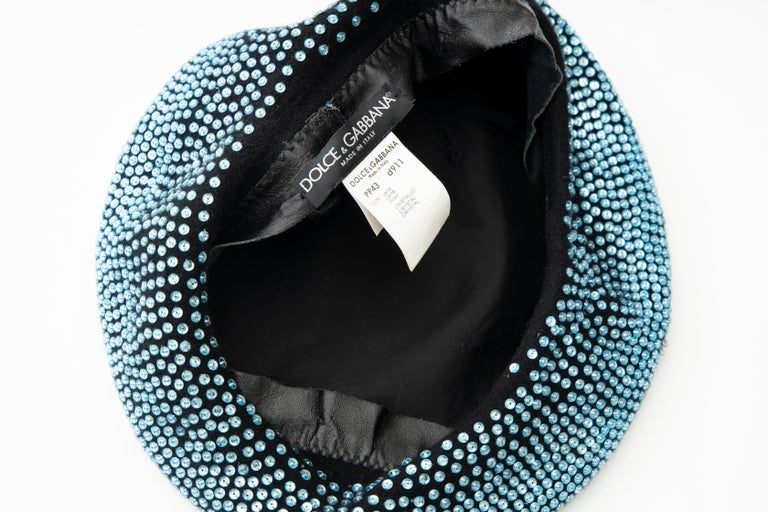 Dolce & Gabbana Runway Black Wool & Turquoise Crystal Beret, Fall 2000 For Sale 10