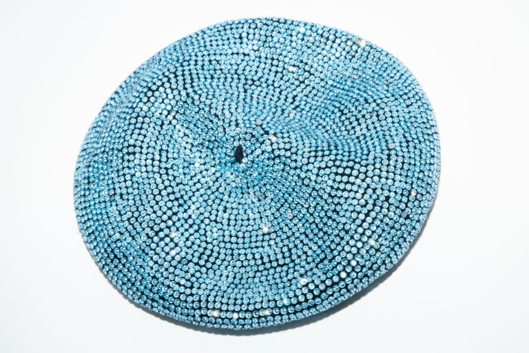 Dolce & Gabbana Runway, Fall 2000 black wool and turquoise crystal beret.  Circumference: 30
