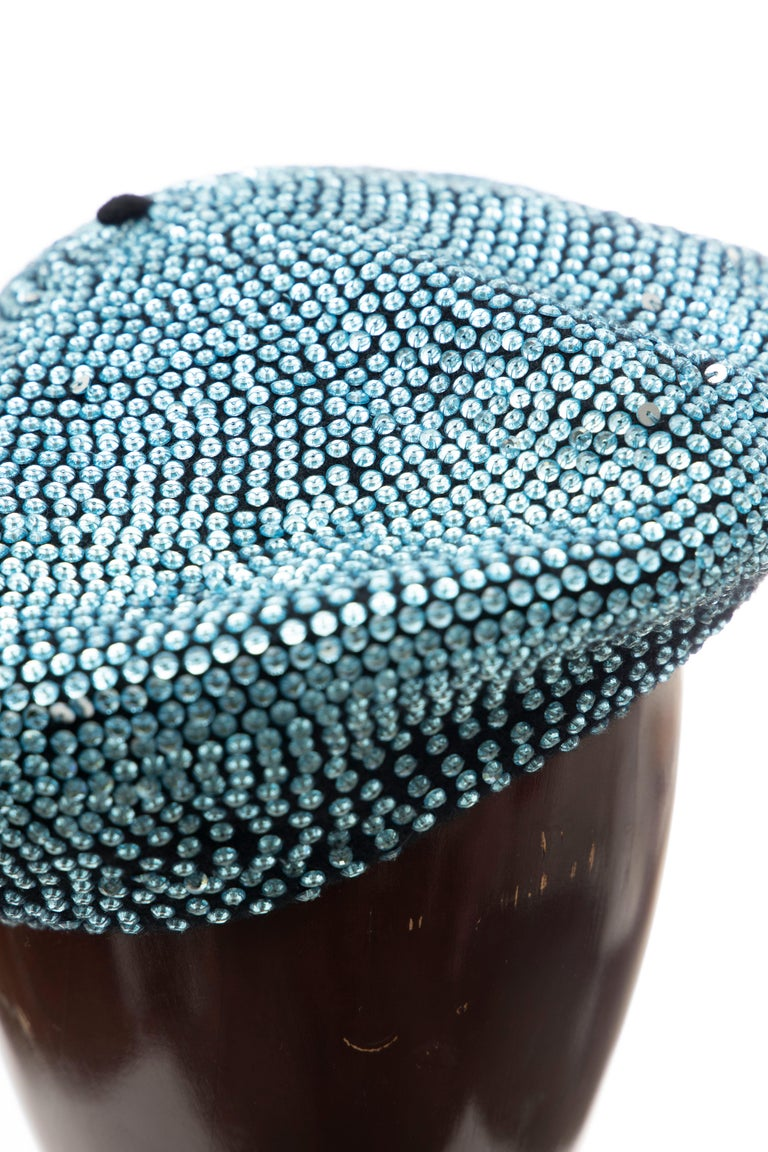 Women's Dolce & Gabbana Runway Black Wool & Turquoise Crystal Beret, Fall 2000 For Sale