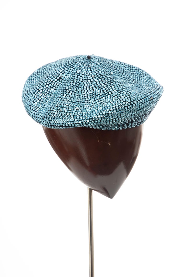 Dolce & Gabbana Runway Black Wool & Turquoise Crystal Beret, Fall 2000 For Sale 2