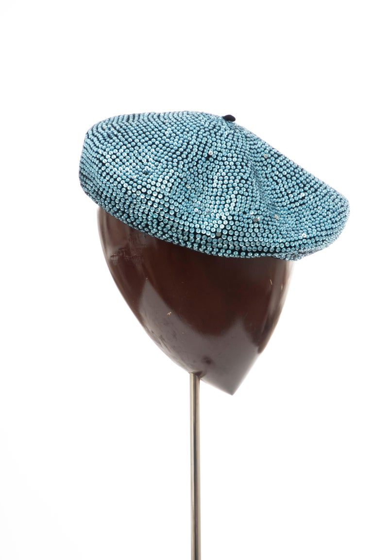 Dolce & Gabbana Runway Black Wool & Turquoise Crystal Beret, Fall 2000 For Sale 3