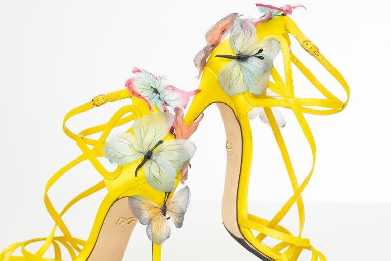 Dolce & Gabbana Runway Yellow Silk Satin Butterfly Appliqué Sandals, Spring 1998 For Sale 14