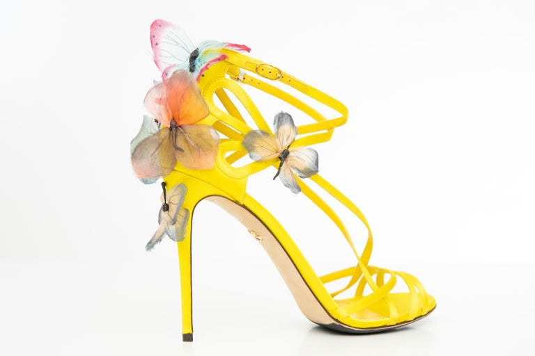 Dolce & Gabbana Runway Spring 1998,  yellow silk satin sandals with butterfly appliqué at counters, gold-tone buckle closures at ankle straps, tonal stitching throughout and covered heels.   IT. 39, US. 9 Heels: 4.5
