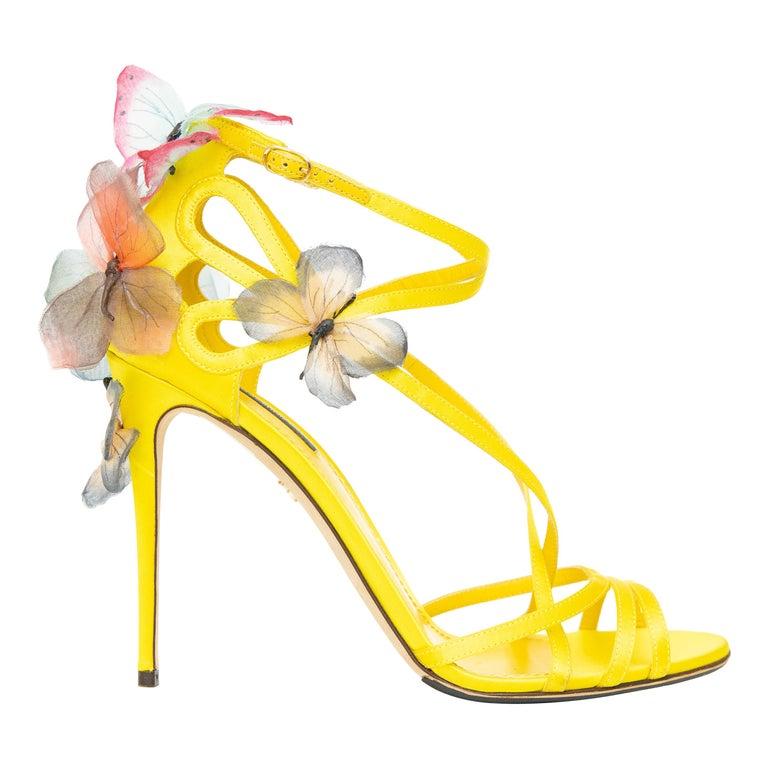 Dolce & Gabbana Runway Yellow Silk Satin Butterfly Appliqué Sandals, Spring 1998 For Sale