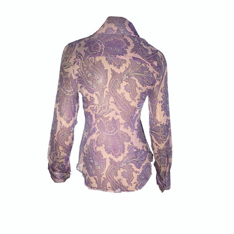 """Dolce & Gabbana sheer low-cut shirt from the S/S 2000 """"Mix & Match"""" collection, also appeared on the runway (Look 32, worn by Trish Goff)  Pink and purple Paisley motif, crystal cufflinks  Size IT 40  Shoulder to shoulder: 40cm / 15,7 inches  Pit to"""